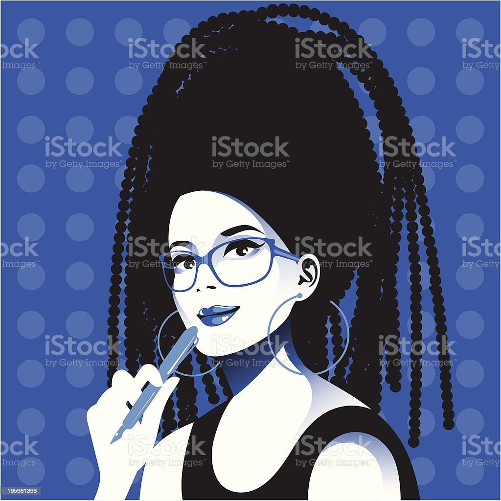 Young woman with pen. vector art illustration