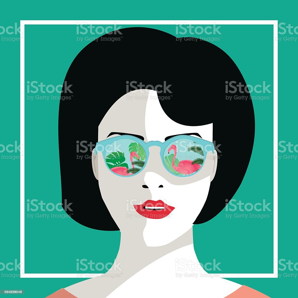 Young woman with sunglasses with flamingos vector illustration.Tropical illustration of girl with sunglasses royalty-free 일러스트