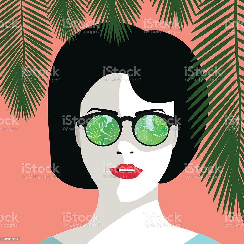 Young woman with sunglassses with philodendron leaves. royalty-free 일러스트