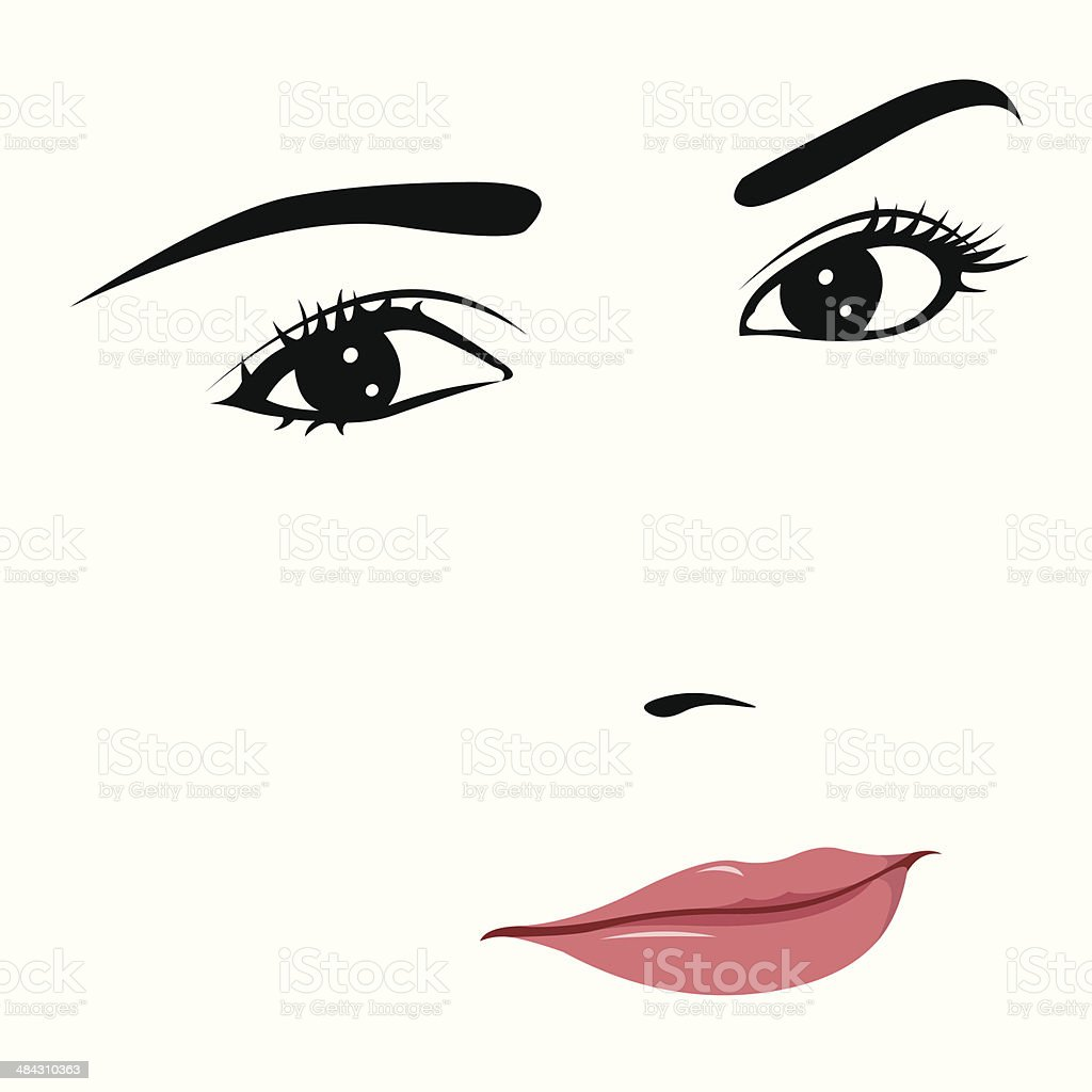 Young woman with thoughtful smile royalty-free stock vector art