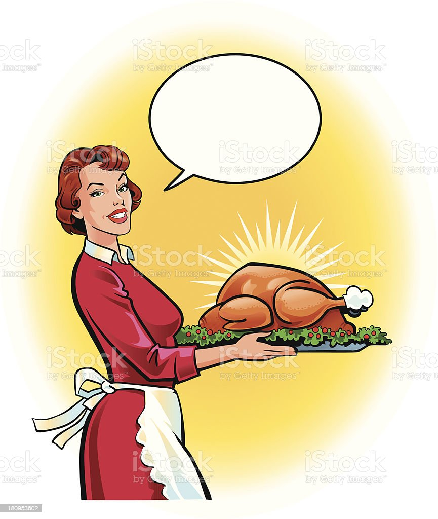 Young Woman With Turkey Roast vector art illustration