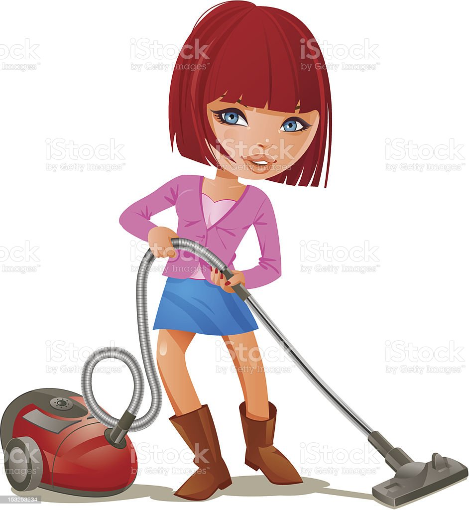 Young woman with Vacuum cleaner royalty-free stock vector art