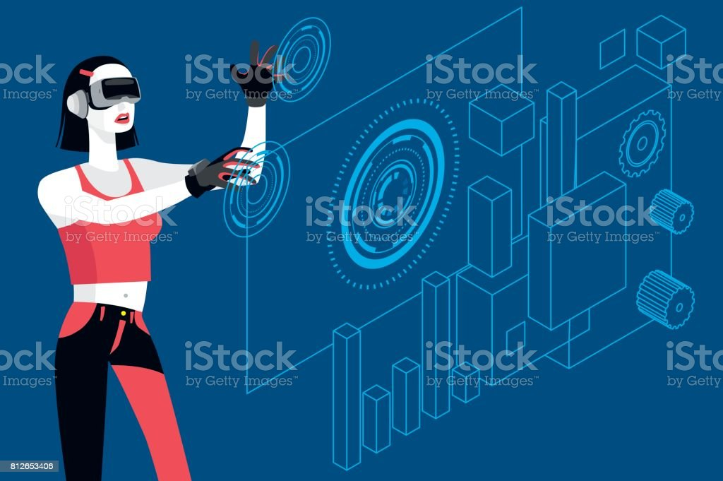 Young Woman with Virtual Reality Glasses BLUE vector art illustration