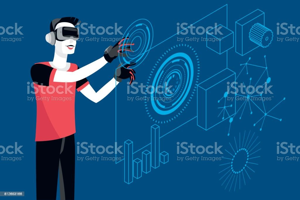 Young Woman with Virtual Reality Glasses vector art illustration