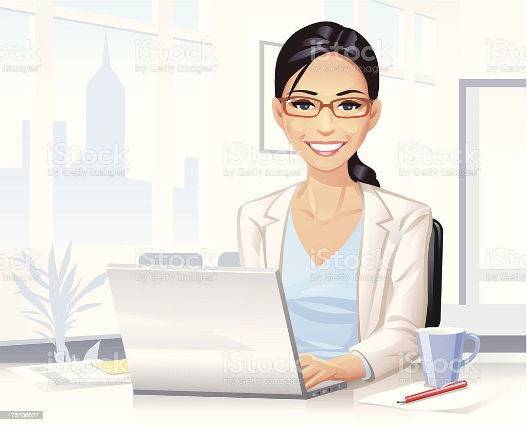 Young Woman Working on Laptop vector art illustration