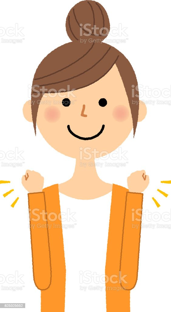 Young woman,mama,Victory Pause vector art illustration