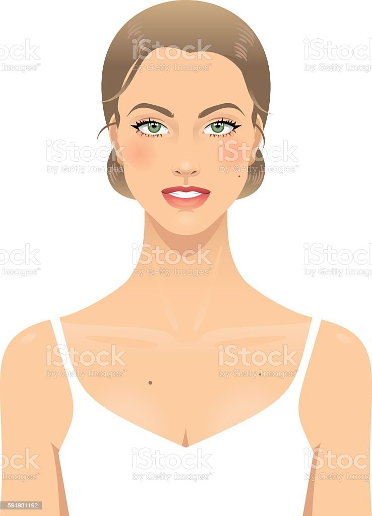 Young woman's face vector art illustration