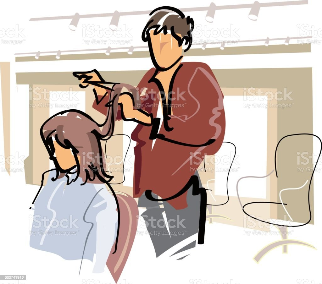 Young women get a haircut at the Salon vector art illustration