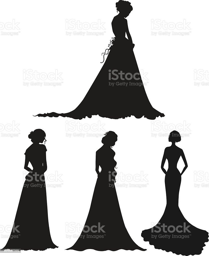 young women in long dresses silhouettes. Brides. Outline. Vector illustration. vector art illustration