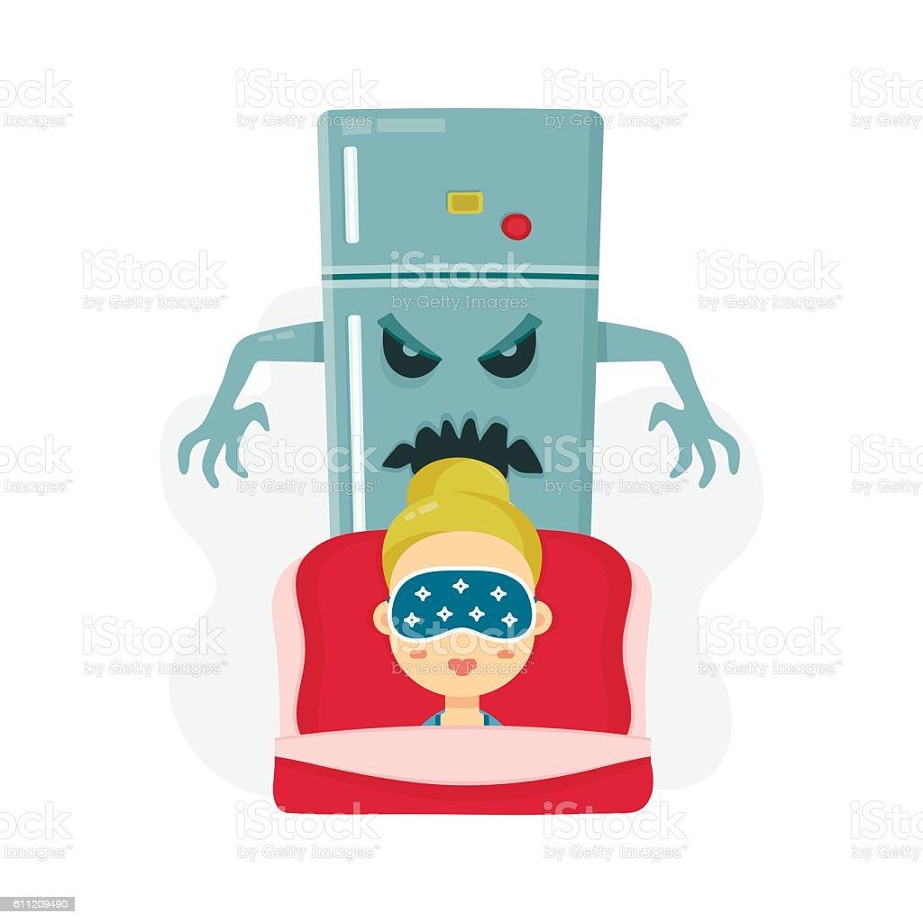 Young women nightmare. scary refrigerator vector art illustration