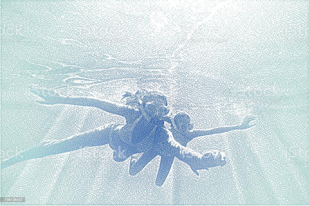 Young Women Snorkeling vector art illustration