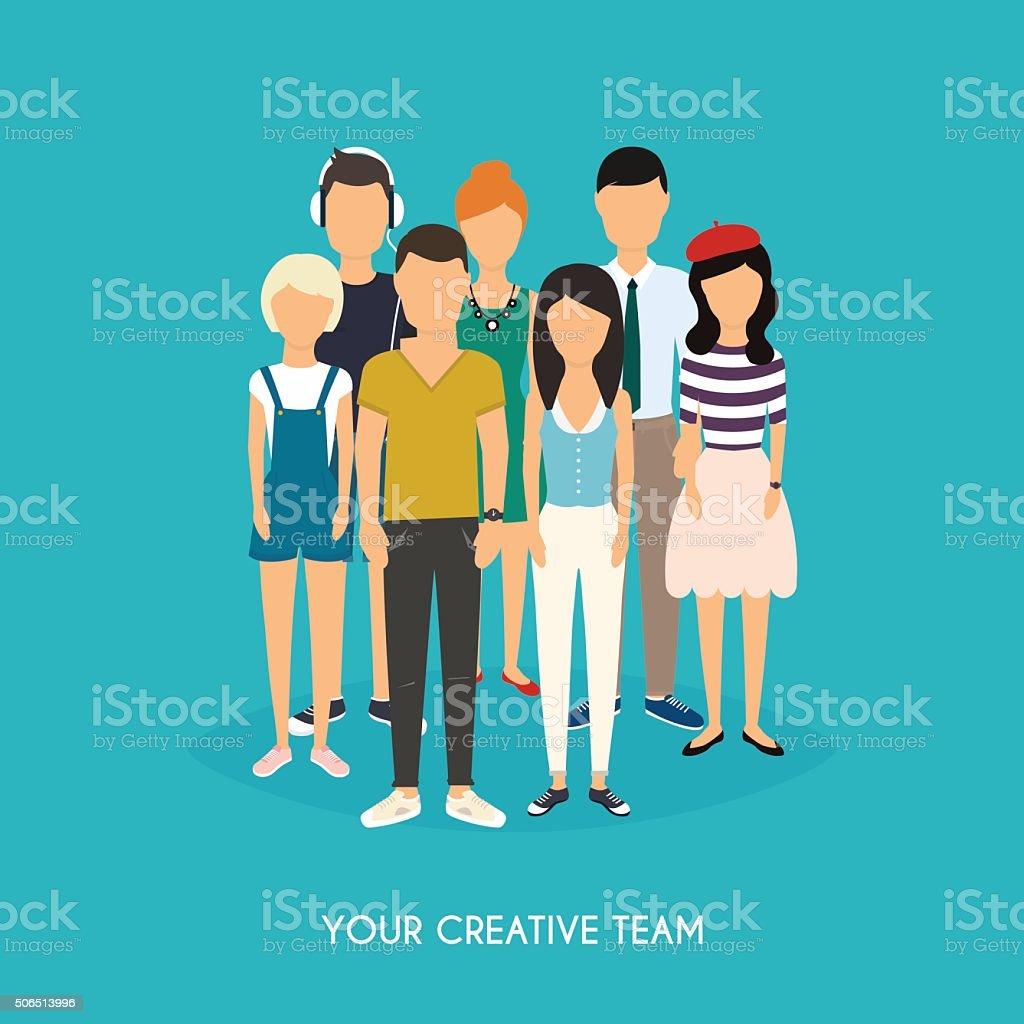 Your creative team. Business Team. Teamwork. vector art illustration