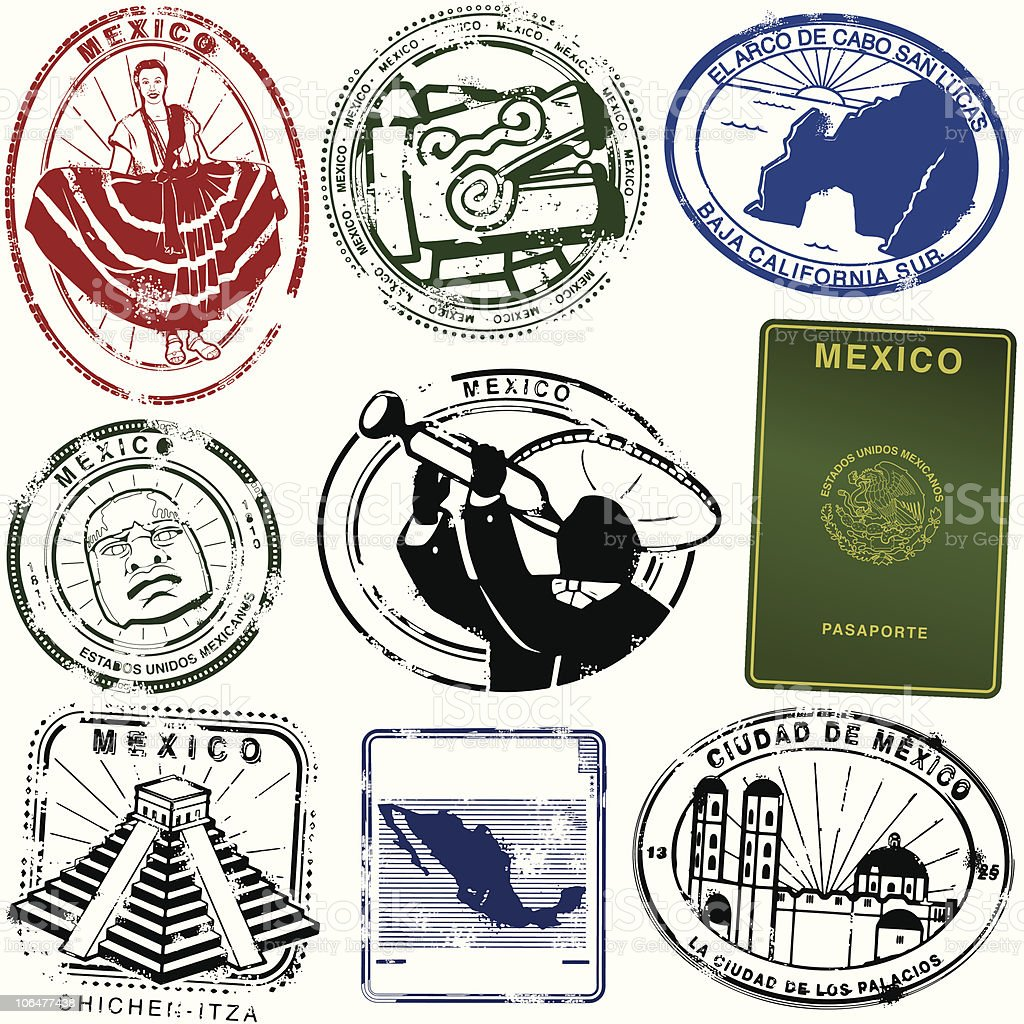 Your Especial passport to Mexico vector art illustration