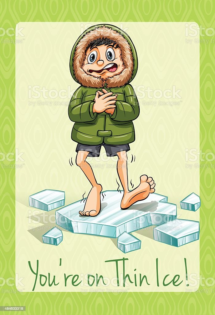 You're on thin ice idiom vector art illustration