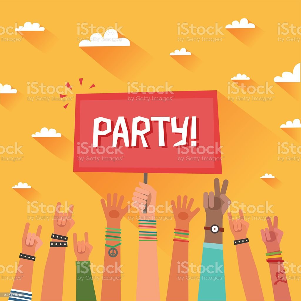 Youth party concept. A lot of hands of young people vector art illustration