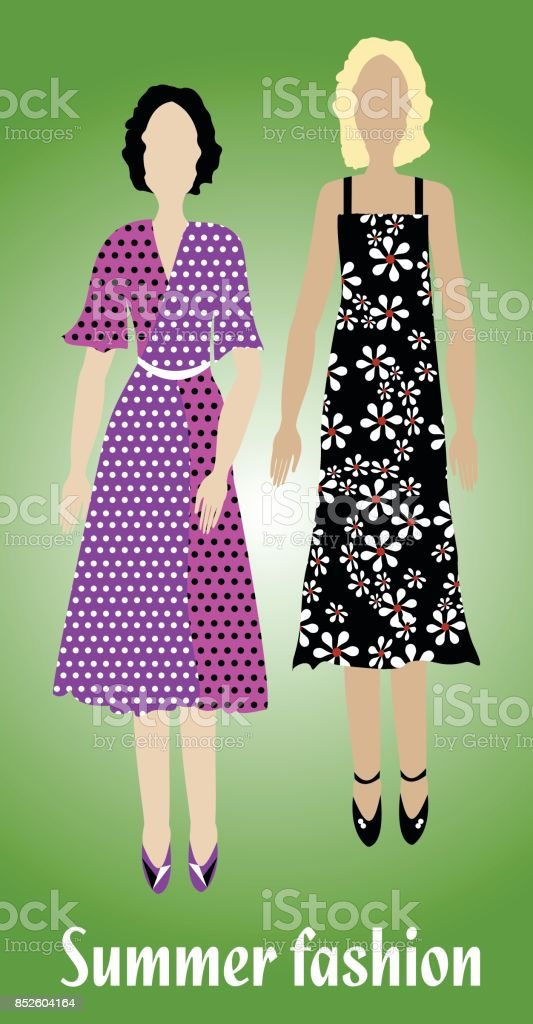 Youth summer fashion, girl silhouettes in modern colorful clothes, fashion design vector art illustration