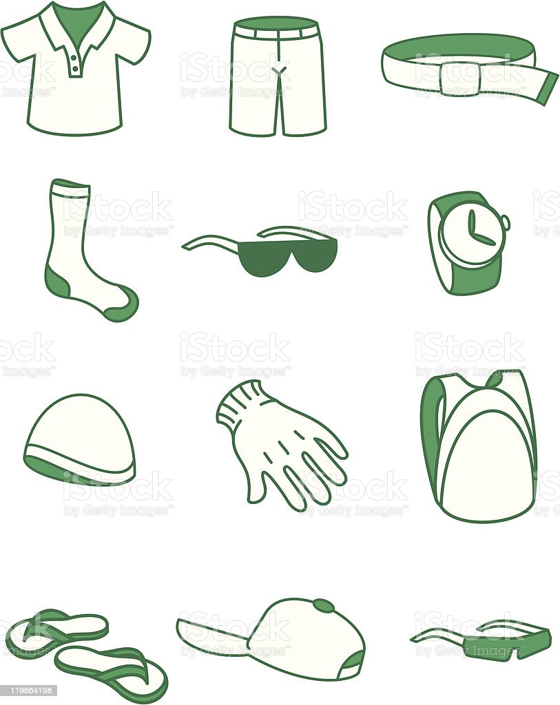 Youthful clothing, footwear and fashion accessories royalty-free stock vector art