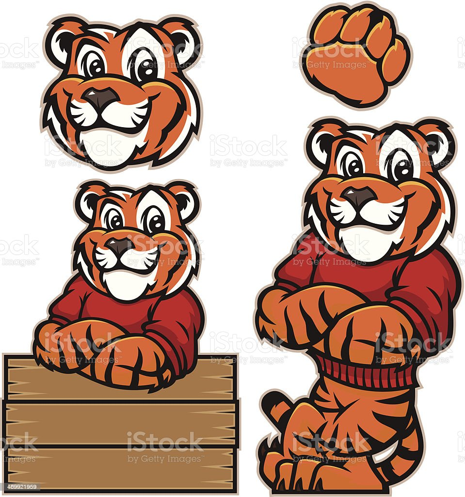 Youthful tiger vector art illustration