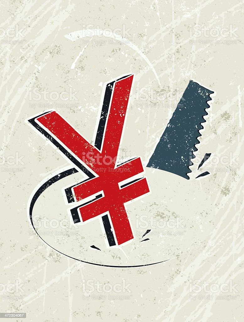 Yuan or Yen Symbol and Saw vector art illustration