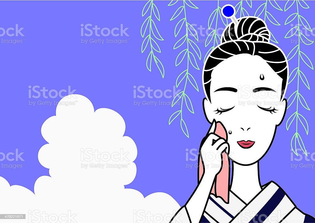 yukata beauty wiping sweat vector art illustration