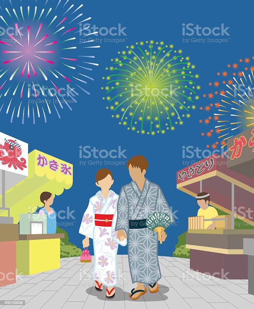 Yukata couple in the Japanese firework display vector art illustration