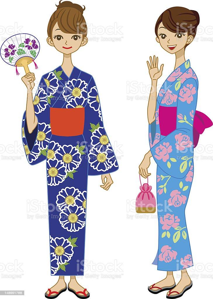 Yukata Girls royalty-free stock vector art