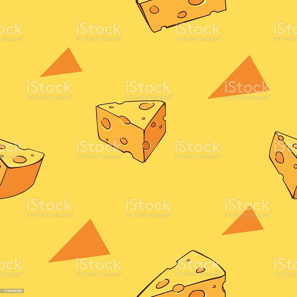 Yummy cheese pattern vector art illustration