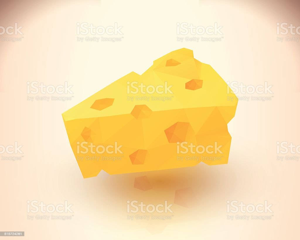 Yummy cheese triangular low poly style royalty-free stock vector art