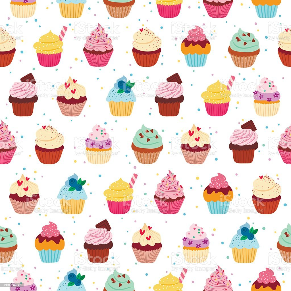 Yummy cupcakes seamless pattern vector art illustration