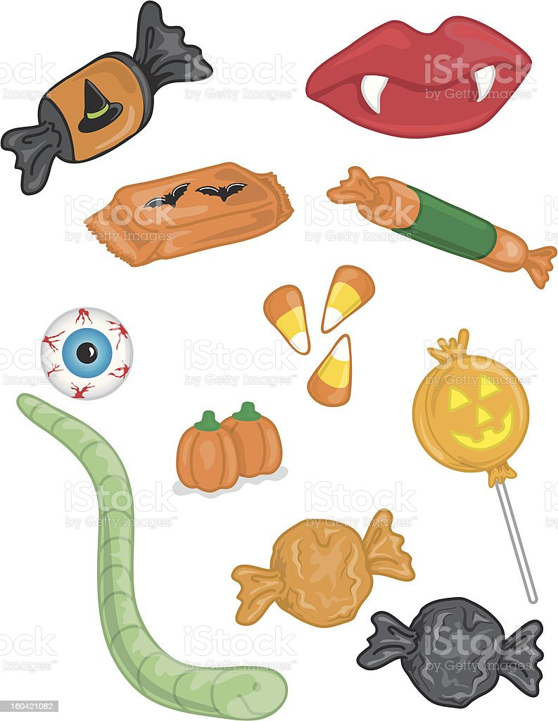 Yummy Halloween candy vector art illustration