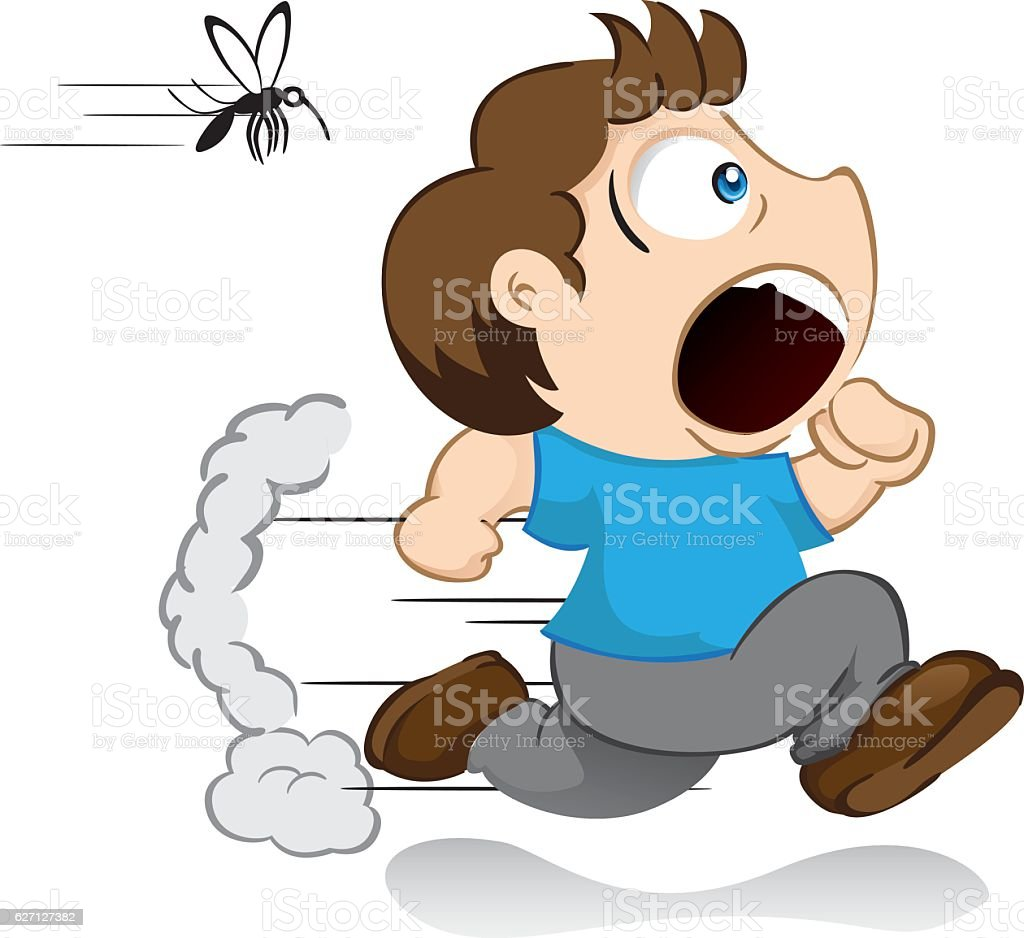 Yuyu character, boy mascot running away running from a dengue mosquito vector art illustration
