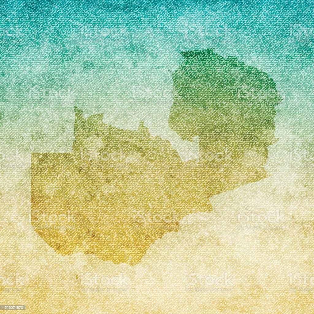 Zambia Map on grunge Canvas Background vector art illustration