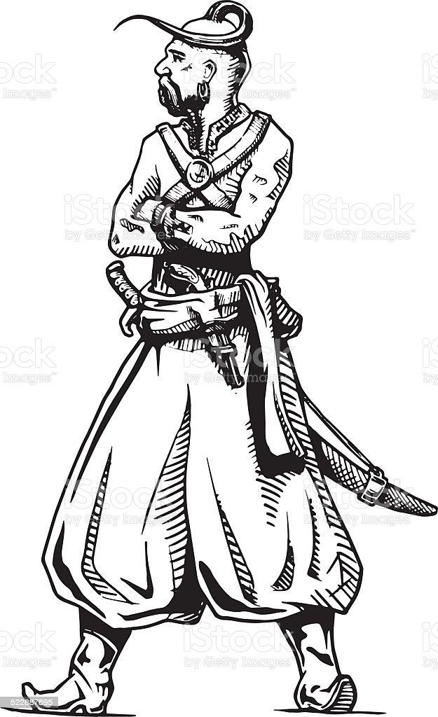 Zaporozhian Cossack vector art illustration
