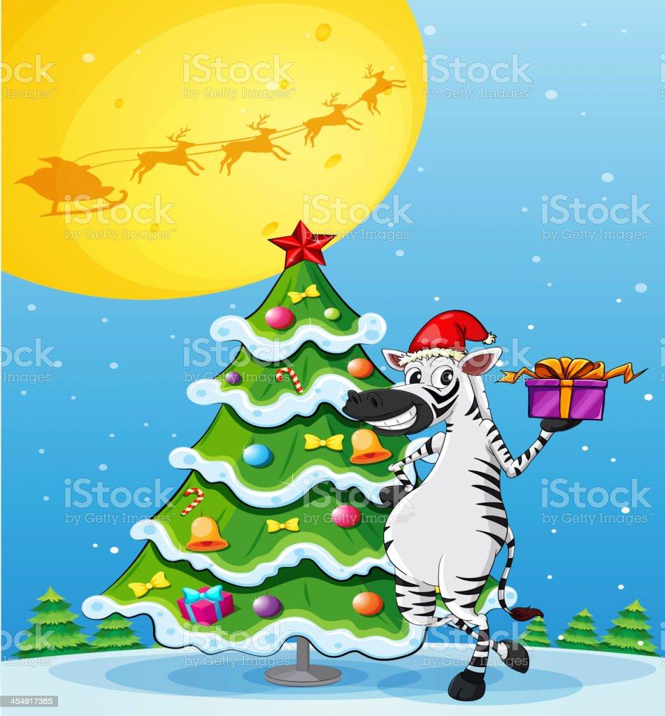 zebra beside the tall christmas tree royalty-free stock vector art