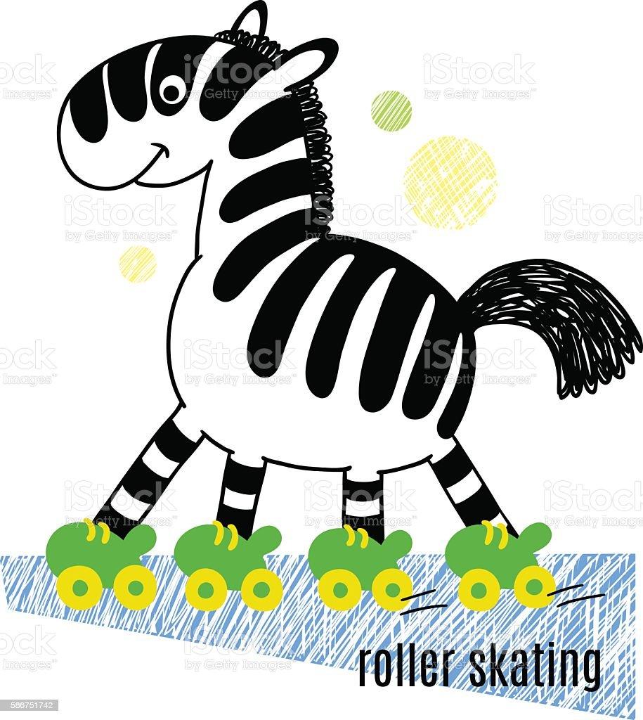Zebra roller skates - Zebra Roller Skating Vector Illustration Royalty Free Stock Vector Art