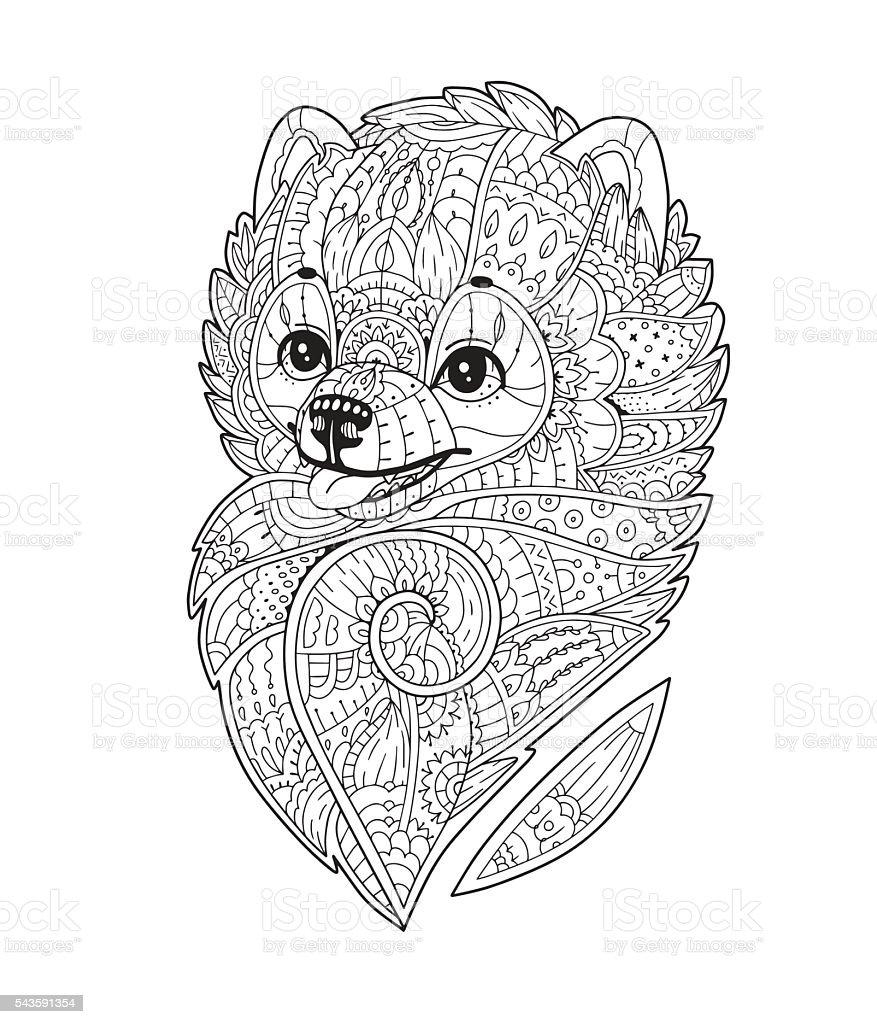 Zen art stylized Dog in vector vector art illustration