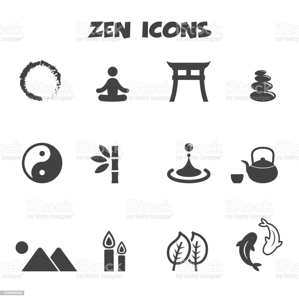 zen icons vector art illustration