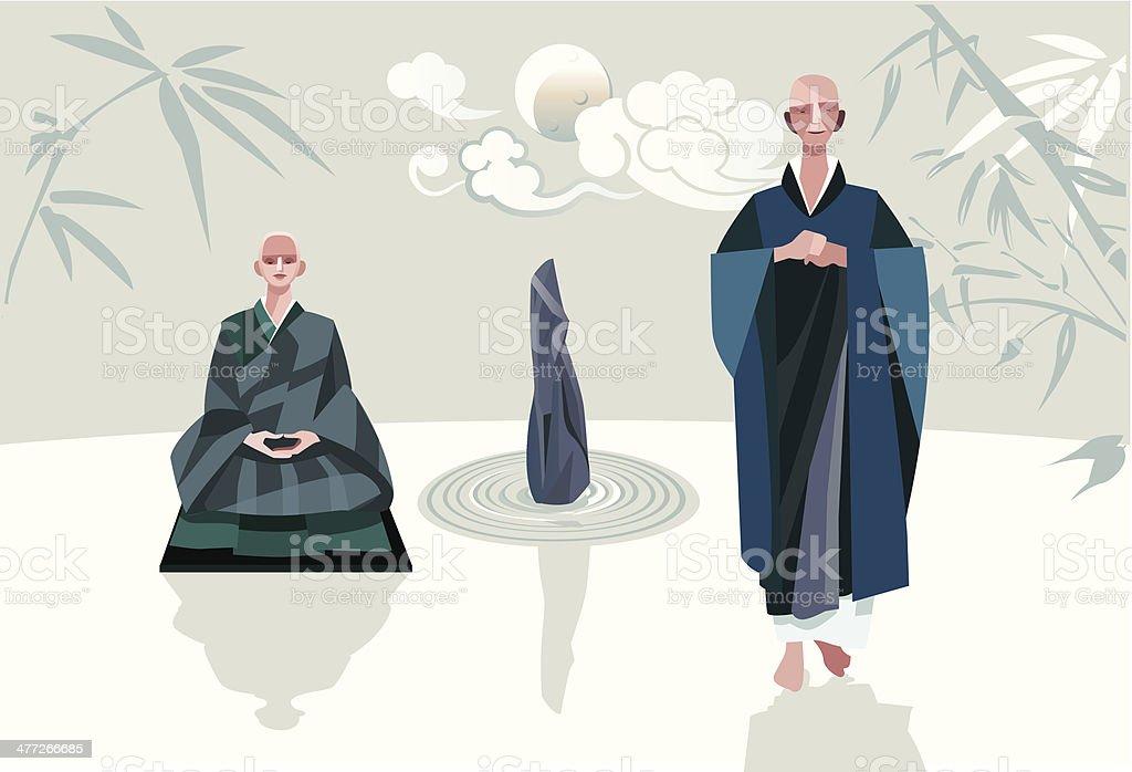 Zen Master and Disciple Vertical Horizontal vector art illustration