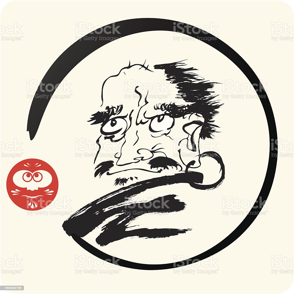 Zen Patriarch Bodhidharma Daruma vector art illustration