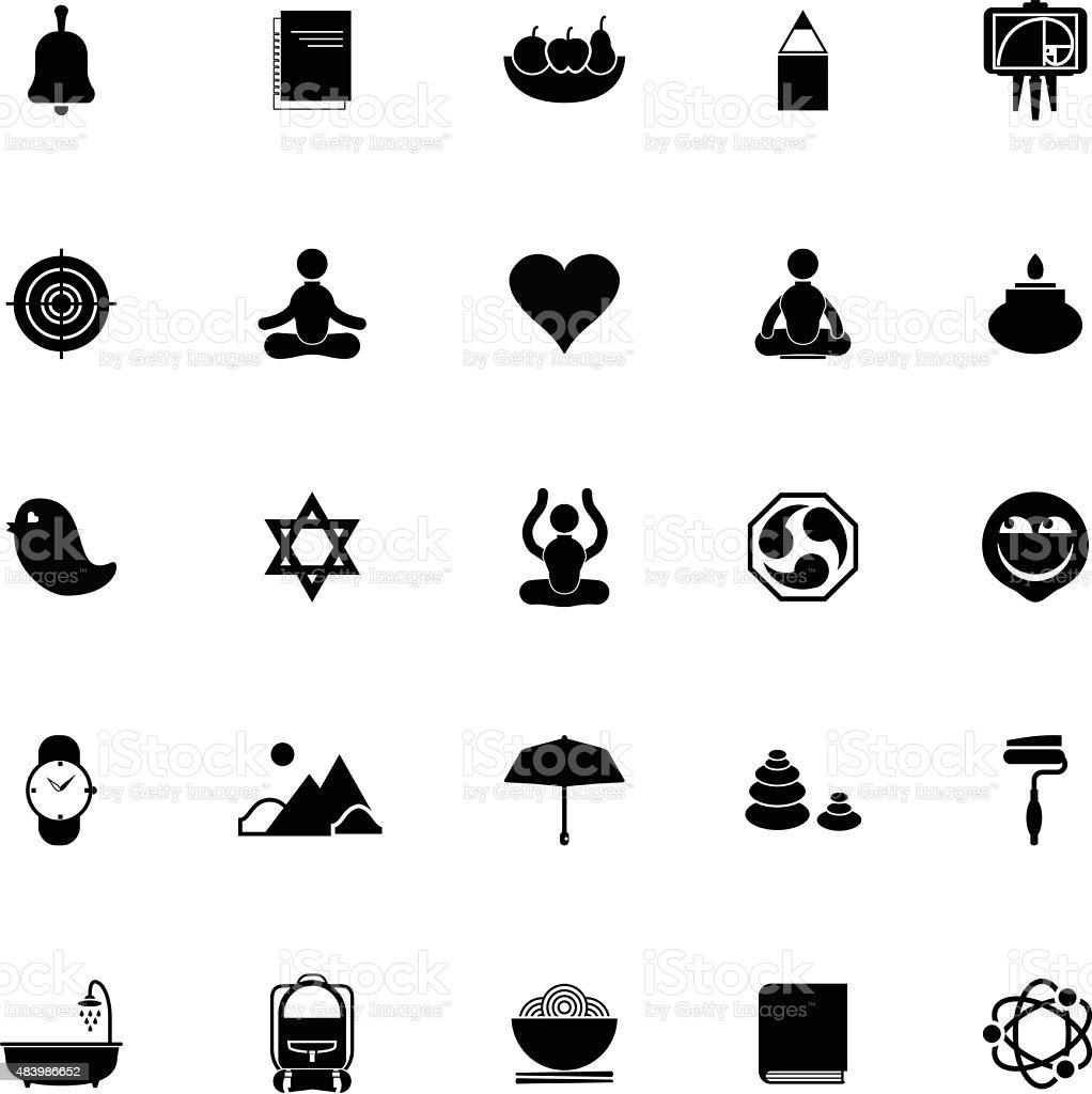 Zen society icons on white background vector art illustration