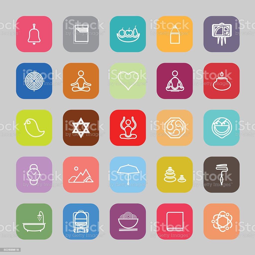 Zen society line flat icons vector art illustration