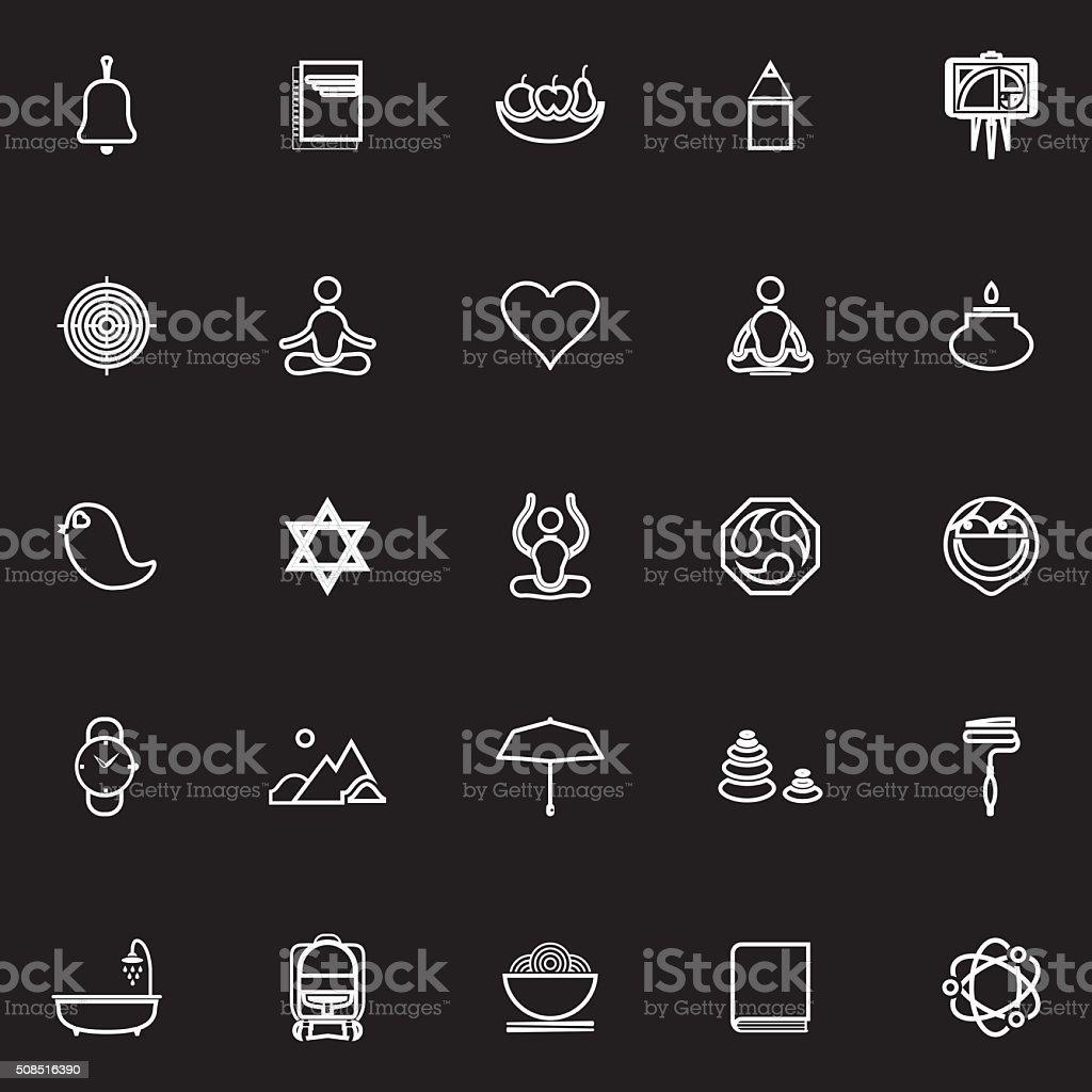 Zen society line icons on black background vector art illustration