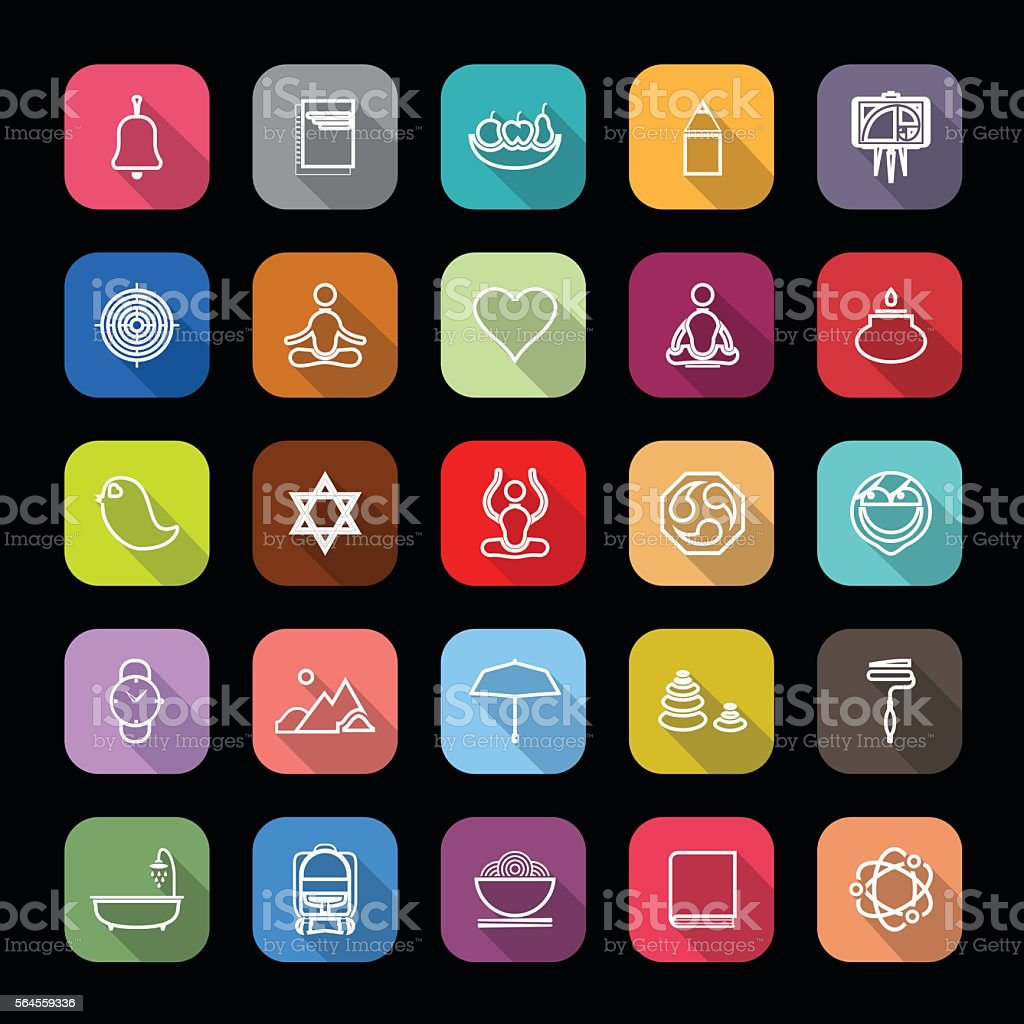 Zen society line icons with long shadow vector art illustration