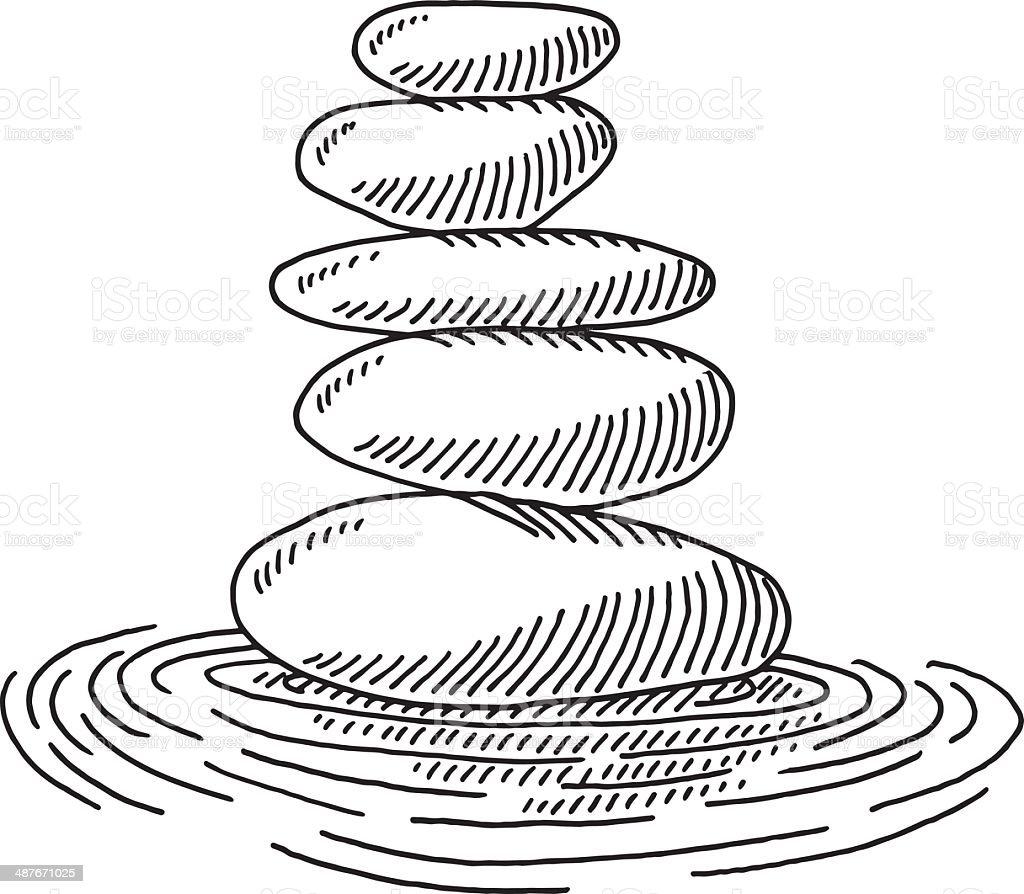 Zen Line Drawing : Zen stones ondulations aquatiques dessin stock vecteur