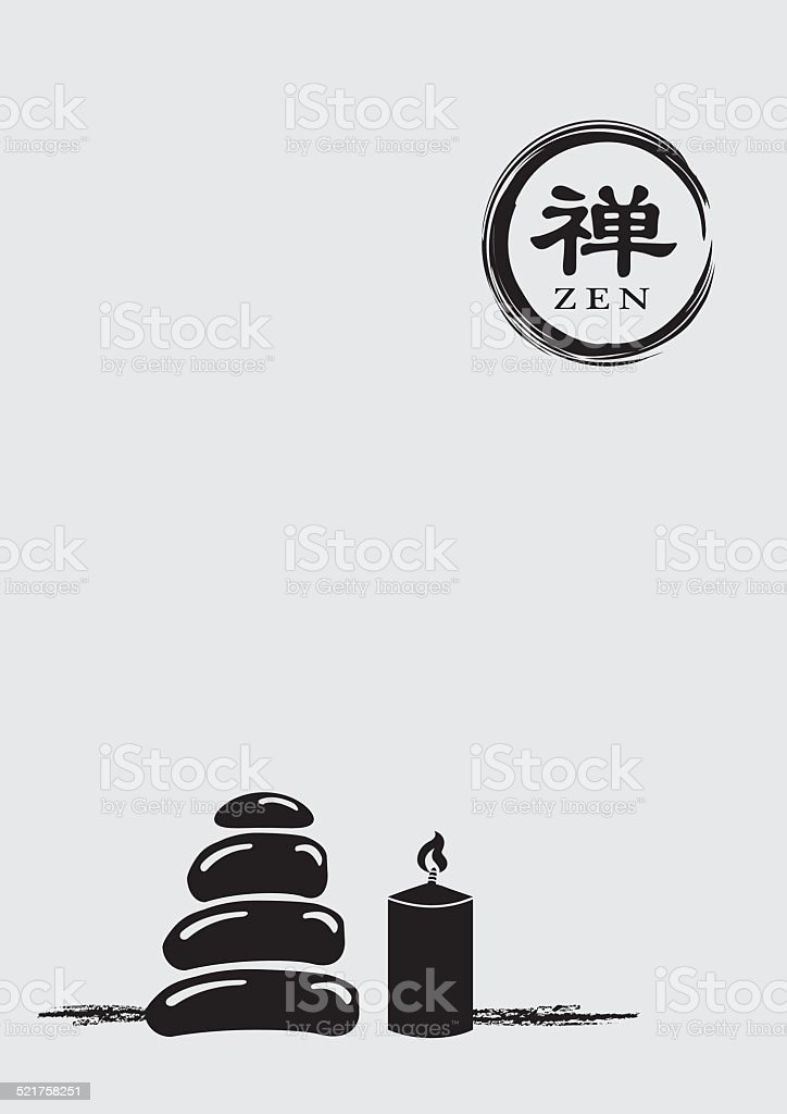 Zen Symbol with Stack Pebbles and Lit Candle Vector Illustration vector art illustration