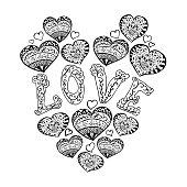 Zentangle heart pattern for relax