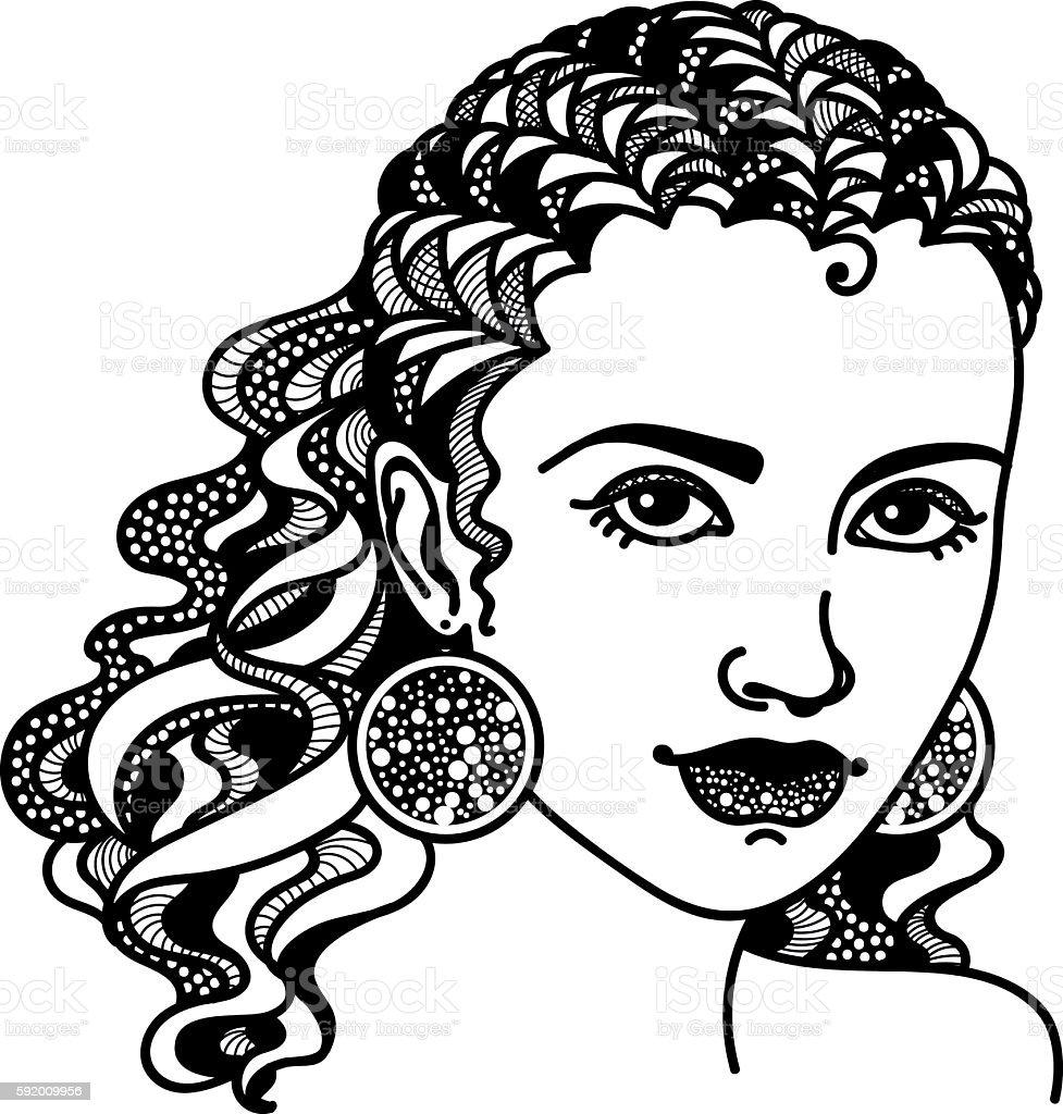 Zentangle stylized girl vector art illustration