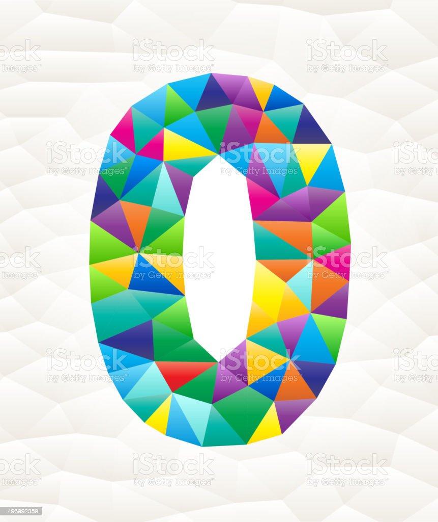 Zero on triangular pattern mosaic royalty free vector art vector art illustration