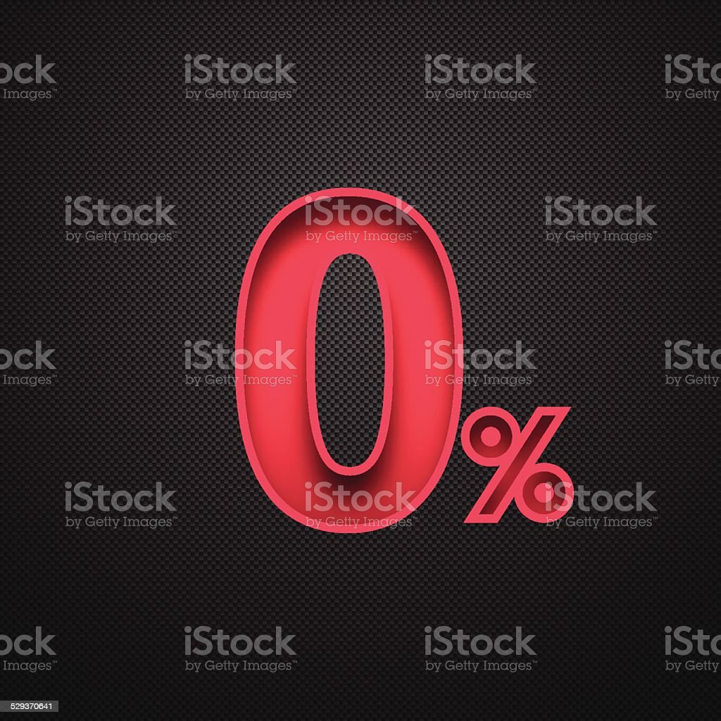 Zero Percent Design (0%). Red number on Carbon Fiber Background vector art illustration