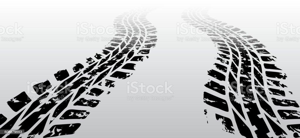 Zig zag tire track vector art illustration